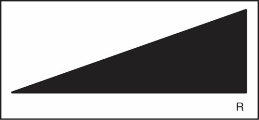 Liegendes Dreieck mit R-Kennzeichnung für Dimmer