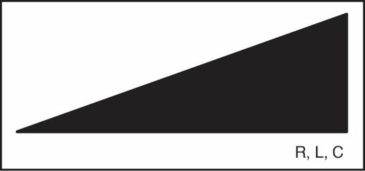 Liegendes Dreieck mit R,L,C-Kennzeichnung für Dimmer