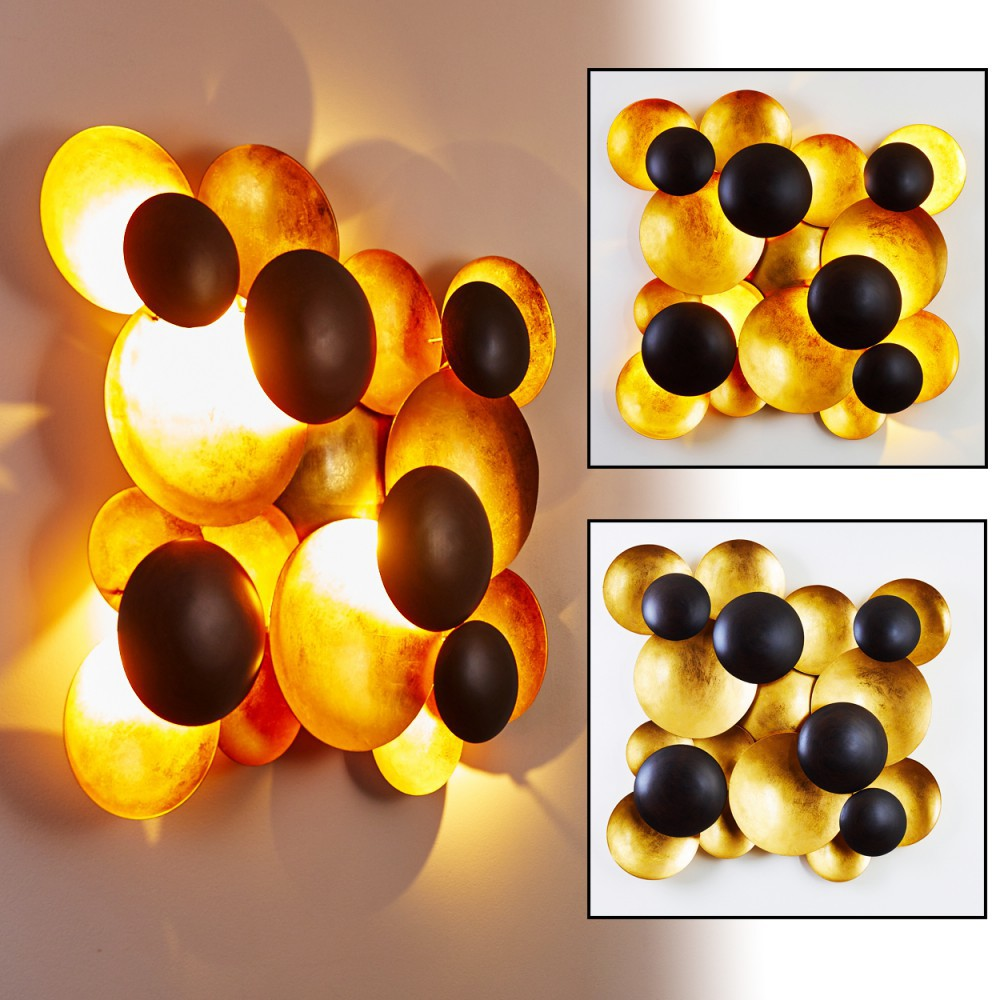 LED Wandleuchte in Gold und Schwarz