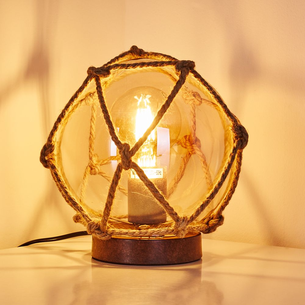 LS-LebenStil Tischlampe H/änge-Lampe Tau Sisal 300cm Seil-Lampe Pendel-Leuchte