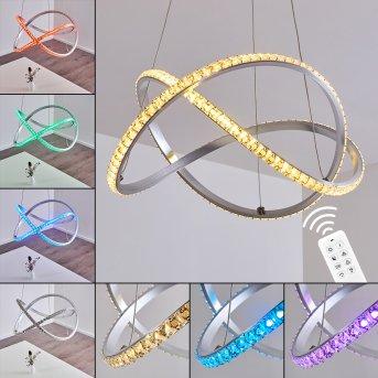 Saginaw Hängeleuchte LED Nickel-Matt, 1-flammig, Fernbedienung, Farbwechsler