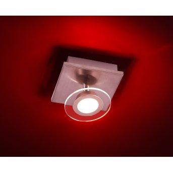 Leuchten Direkt LOLA-MIKE Deckenleuchte LED Edelstahl, 1-flammig, Fernbedienung, Farbwechsler