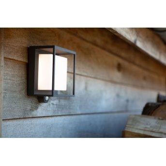 Lutec Curtis Solar Wandleuchte LED Anthrazit, 1-flammig, Bewegungsmelder