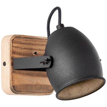 Brilliant CROWTON Wandleuchte Schwarz, Holz dunkel, 1-flammig