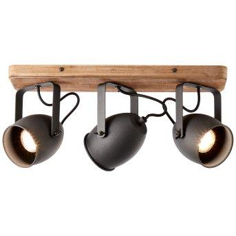 Brilliant CROWTON Deckenleuchte Schwarz, Holz dunkel, 3-flammig