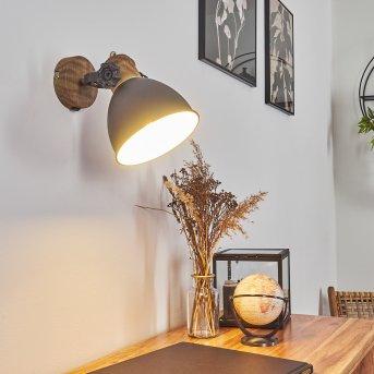 Banjul Wandleuchte Grau, Holz dunkel, 1-flammig