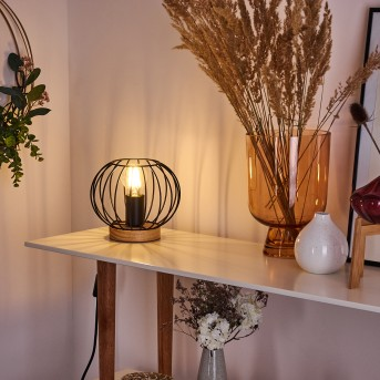 Refresco Tischleuchte Schwarz, Holz dunkel, 1-flammig