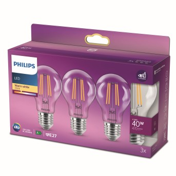 Philips LED E27 3er Pack 40 Watt 2700 Kelvin 470 Lumen