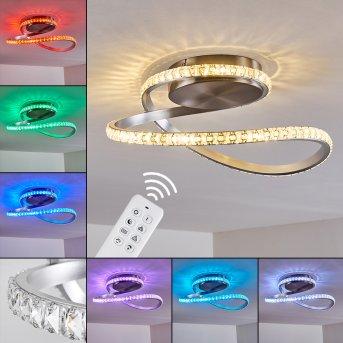 Saginaw Deckenleuchte LED Nickel-Matt, 1-flammig, Fernbedienung, Farbwechsler