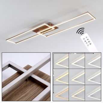 Cheka Deckenleuchte LED Nickel-Matt, Braun, 2-flammig, Fernbedienung