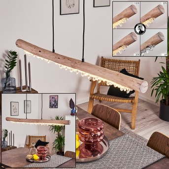 Rodeche Pendelleuchte LED Schwarz, Holz hell, 1-flammig