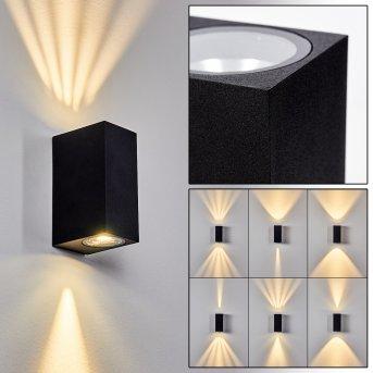 Komoren Außenwandleuchte LED Schwarz, 2-flammig