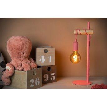 Lucide Pola Tischleuchte Pink, Holz dunkel, 1-flammig