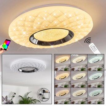 Roseto Deckenleuchte LED Chrom, Weiß, Transparent, Klar, 1-flammig, Fernbedienung