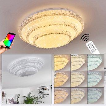 Roseto Deckenleuchte LED Weiß, Transparent, Klar, 1-flammig, Fernbedienung