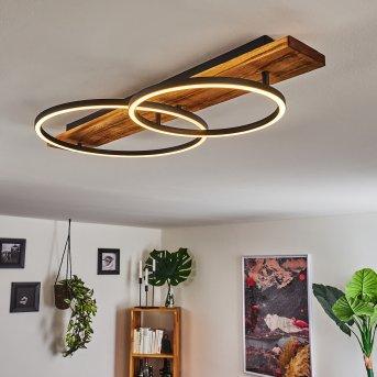 Pompu Deckenleuchte LED Schwarz, Holz dunkel, 2-flammig