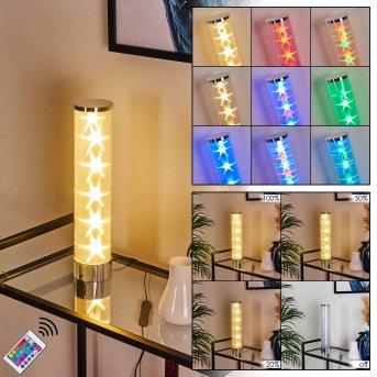 Hatara Tischleuchte LED Chrom, 1-flammig, Fernbedienung, Farbwechsler