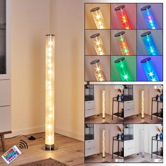 Hatara Stehleuchte LED Chrom, 1-flammig, Fernbedienung, Farbwechsler