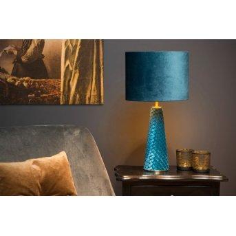 Lucide VELVET Tischleuchte Blau, Messing, 1-flammig
