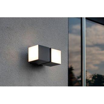 Lutec CUBA Außenwandleuchte LED Schwarz, 2-flammig