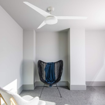 Faro Barcelona Vulcano Deckenventilator LED Weiß, 1-flammig, Fernbedienung