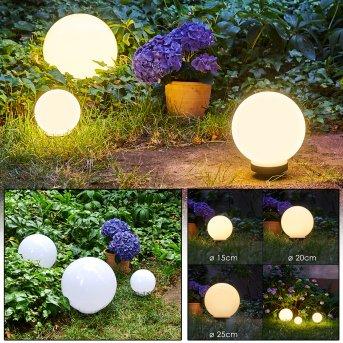 Campinas 3er Set Solar-Kugelleuchten LED Schwarz, Weiß, 1-flammig
