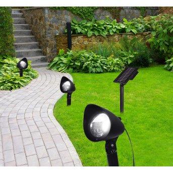 Globo 3er Set Solarleuchte LED Schwarz, 3-flammig