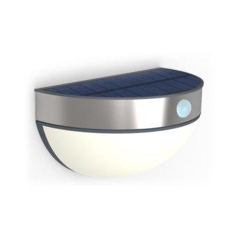 Lutec BRICK Solar-Außenwandleuchte LED Edelstahl, 1-flammig, Bewegungsmelder