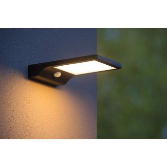 Lucide BASIC Solar-Außenwandleuchte LED Schwarz, 1-flammig, Bewegungsmelder