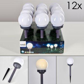 Hakon 12er Set Solar-Wegeleuchte LED Grau, 1-flammig