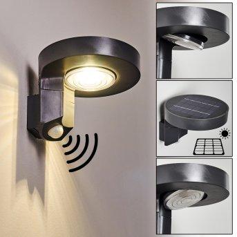 Townsville Solar-Außenwandleuchte LED Schwarz, 1-flammig, Bewegungsmelder