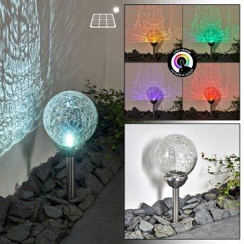 Carbonia Solar-Wegeleuchte LED Silber, 2-flammig, Farbwechsler