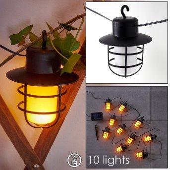Pozzuoli Solar-Lichterkette LED Schwarz, Weiß, 10-flammig