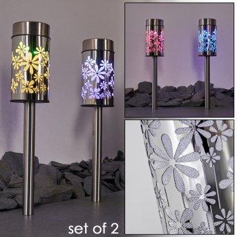 Gorizia Solarleuchte LED Edelstahl, 2-flammig, Farbwechsler