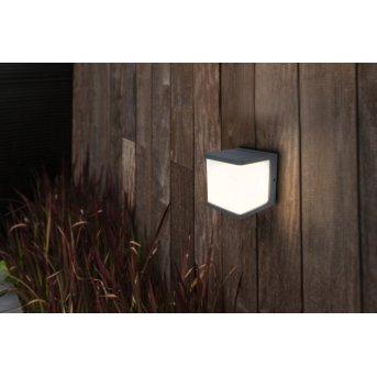 Lutec DOBLO Solar-Außenwandleuchte LED Anthrazit, 1-flammig, Bewegungsmelder