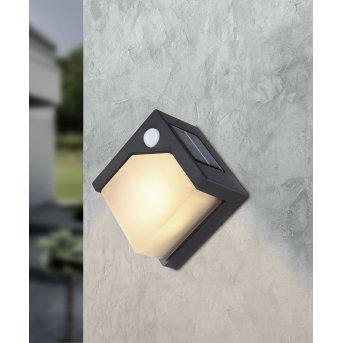 Globo Solar Außenwandleuchte LED Schwarz, 8-flammig, Bewegungsmelder