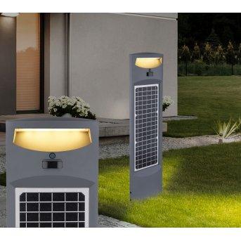 Globo Solar Sockelleuchte LED Anthrazit, 1-flammig, Bewegungsmelder