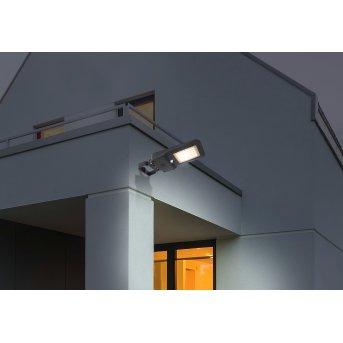 Globo Solar Fassadenstrahler LED Schwarz, 1-flammig, Bewegungsmelder
