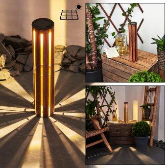 Hankinson Solarleuchte LED Schwarz, Kupferfarben, Holz dunkel, 1-flammig