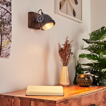 Herford Wandleuchte Grau, Holz dunkel, 1-flammig