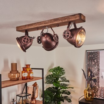 Herford Deckenleuchte Rostfarben, Holz dunkel, 3-flammig