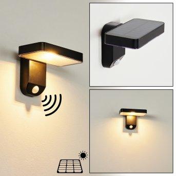 Bondarp Solar-Außenwandleuchte LED Schwarz, 1-flammig, Bewegungsmelder