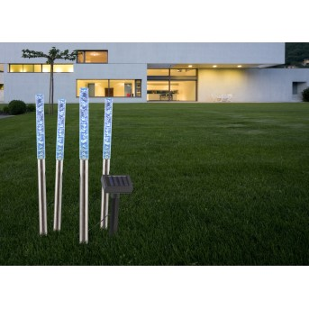Globo 4er Set Solar-Wegeleuchte LED Edelstahl, 4-flammig
