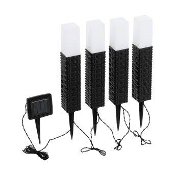 Eglo STEP 4er Set Solar-Wegeleuchte LED Schwarz, Braun, 4-flammig