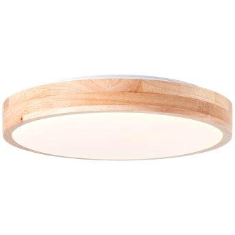 Brilliant Slimline Deckenleuchte LED Weiß, Holz hell, 1-flammig