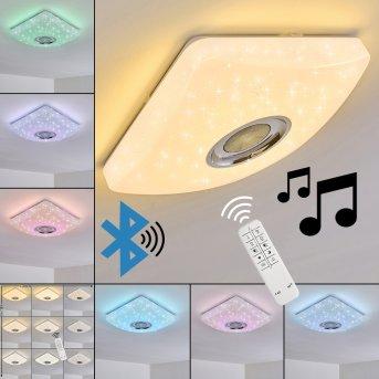 Lovisa Deckenleuchte LED Chrom, Weiß, 1-flammig, Fernbedienung, Farbwechsler
