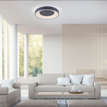 Leuchten Direkt LOLAsmart-ANIKA Deckenleuchte LED Anthrazit, 1-flammig, Fernbedienung, Farbwechsler
