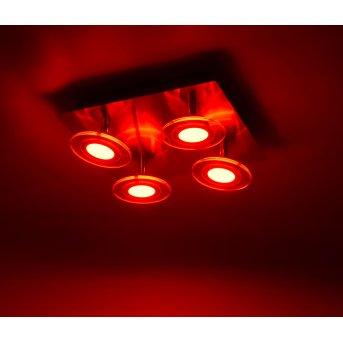 Leuchten Direkt LOLA-MIKE Deckenleuchte LED Edelstahl, 4-flammig, Fernbedienung, Farbwechsler