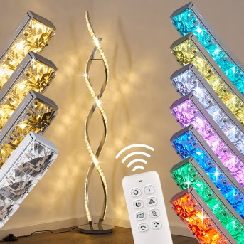 Assuan Stehlampe LED Chrom, 1-flammig, Fernbedienung, Farbwechsler