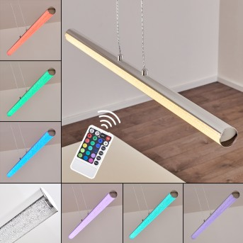 Flaut Pendelleuchte LED Chrom, 1-flammig, Fernbedienung, Farbwechsler